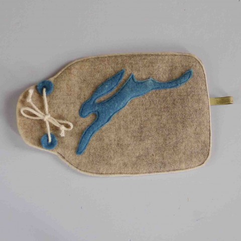 wool felt hot-water-bottle cover Blue hare