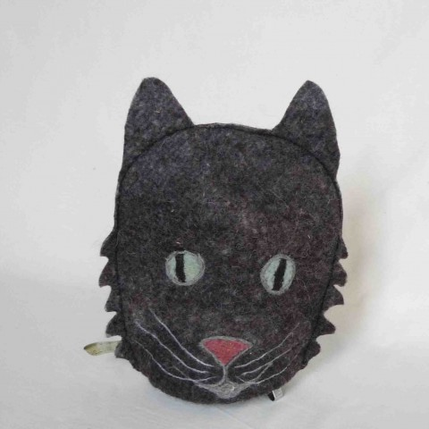 Dark Grey Cat coffee cosy