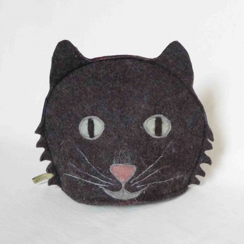 Dark Grey cat tea cosy - wool felt