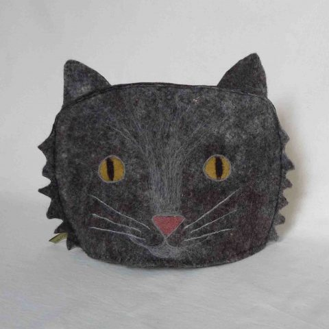 Mid Grey Cat Tea Cosy - wool felt