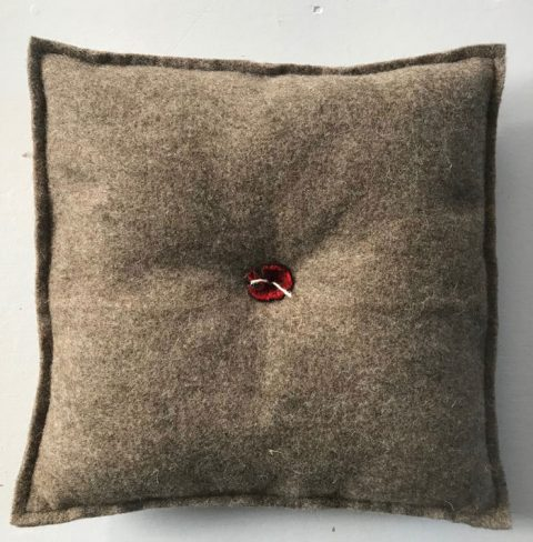Pillow red button small